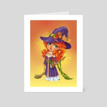 Halloween Witch Chibi - Art Card by Maria Dimova