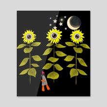 Sun flowers - Acrylic by Lara Paulussen