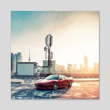 NSX & City - Acrylic by Hussam Al-sayed