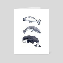 Whale Trio 1 - Art Card by Angela Cosenzo