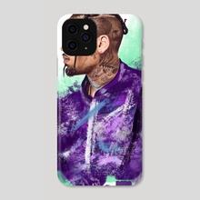 Chris Brown Digital Painting - Phone Case by Iulian Cetanas