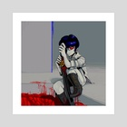 I've been mincing meat with my katana for 3 days now lemme take a break.. - Art Print by Sinny Kitt