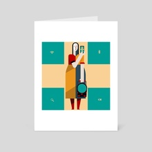 Rural woman with an iPhone. - Art Card by Konstantin Biryukov