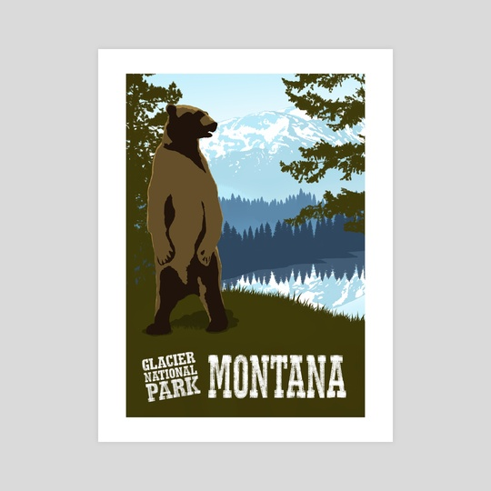 Glacier National Park Grizzly Travel Poster by John Morris