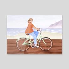 Seaside Ride - Acrylic by Maureen Keeney