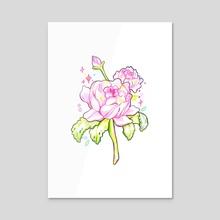 Pink Roses - Acrylic by Hyemin Yoo