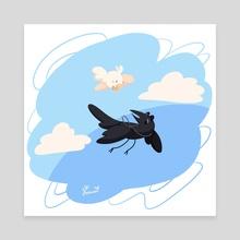 Borb Omens Flying Together - Canvas by Eugene Oakwood