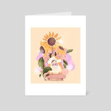 Cute Hamster Loves Popcorn (sunflowers in the background, tho) - Art Card by Pinkeu Ping