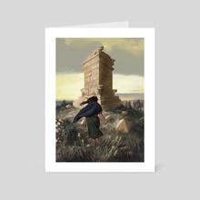 Anglea goes through the Ruins of a Forgotten King's Grave - Art Card by Sandra Delgado
