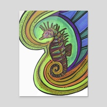 Purple green seahorse of regret - Acrylic by ThEclecticFunk