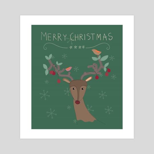 Colorful Merry Christmas raindeer for holiday illustration. by Acharaporn Kamornboonyarush