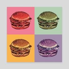 Burger Pop Art - Canvas by Jessica Warrick
