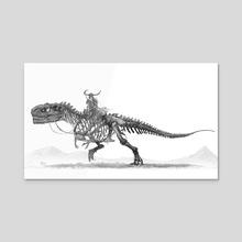 T rex skeleton warrior - Acrylic by Shaun Keenan
