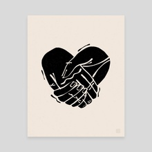 Heart Hands - Black - Canvas by Alex Gold