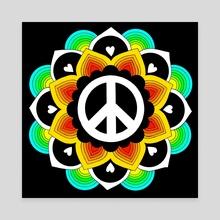 Peace and Love Mandala 16 - Canvas by Emii Emilova