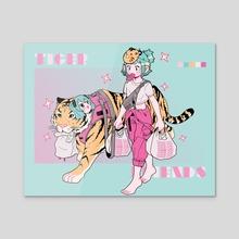 Tiger Friends - Acrylic by Nemupan