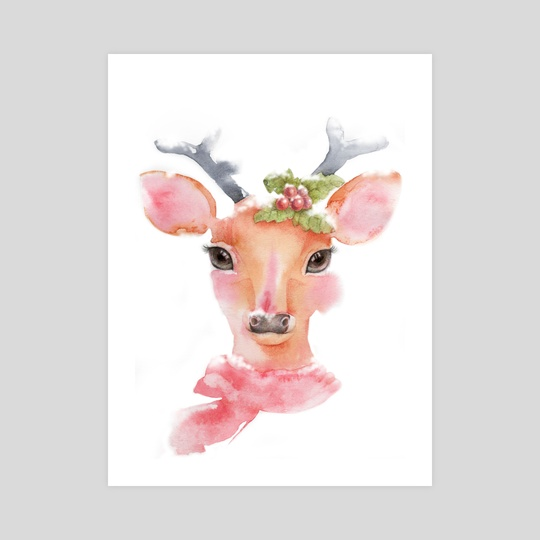 Watercolor-Cute deer with long eyelashes in the snow by Acharaporn Kamornboonyarush