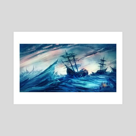HMS Terror and Erebus by Norbert Tóth