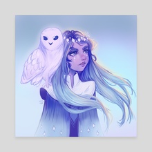 Owl Girl - Canvas by Pomelyne .