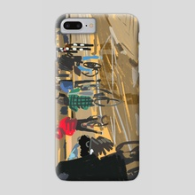 Cyclists of Amsterdam - Amsterdam Amsteldijk - Phone Case by Monique Wijbrands