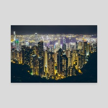 Hong Kong by night - Canvas by Giel Sweertvaegher