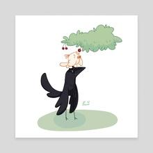 Borb Omens Cherry Picking - Canvas by Eugene Oakwood