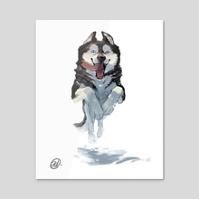 Dog Series - Husky - Acrylic by Elisa Kwon