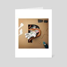 Cardboard Fairytale Letter P - Art Card by Hein van Dongen