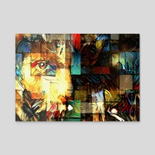 Face Modern Abstract - Acrylic by Bruce Rolff