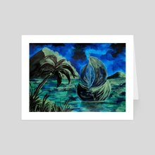 Boat at Night - Art Card by Sebastian Grafmann