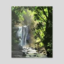 Forest waterfall - Acrylic by Ashley.art