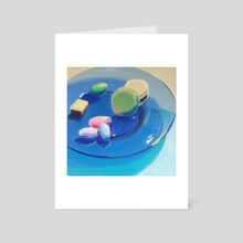 Candies on a Blue Glass Plate - Art Card by Yuri Tayshete