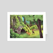 Girl and fox friend - Art Card by Andrea Arce