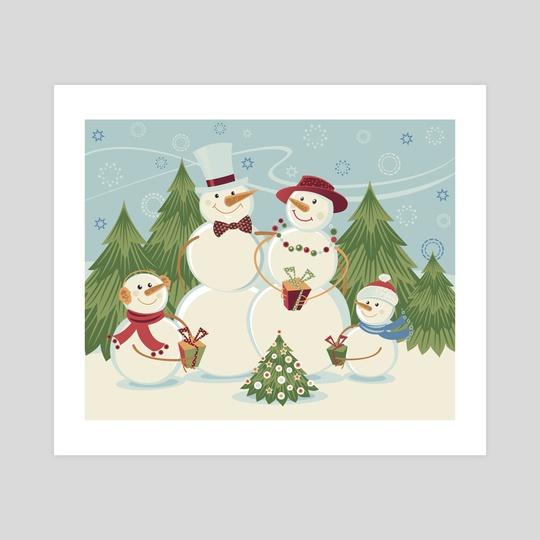 Snowmen Family by Tatiana Rusanovska