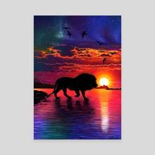 Sunset Lion Drawing  - Canvas by Morgan Davidson