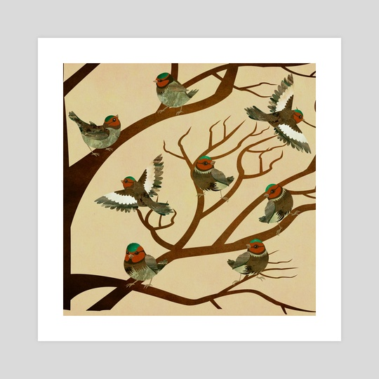 A choir of birds on a tree by Michal Eyal
