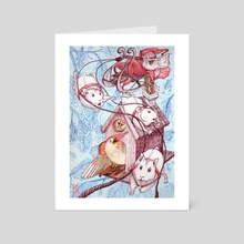 Elfin Santa and His Flying Hamsters - Art Card by Kate Dunn