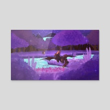 Nighttime Dragon River - Acrylic by Minteakat