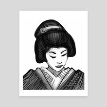 Geisha illustration - Canvas by Bernardo Ramonfaur