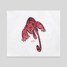 Tiger attack on a white background - Canvas by Hadji Joos