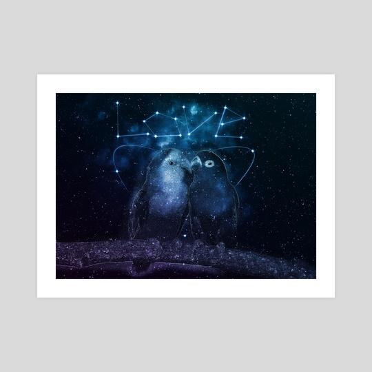 Galaxy Parrot Kissing by LemoBoy