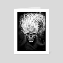 Skull in flames - Art Card by Efrain Sosa
