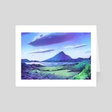 Kaimondake Volcano - Art Card by Roxanne Wheeler