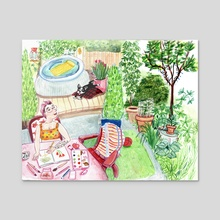 Rosalie my dog and me on a sunny day in the garden - Acrylic by Johanne Weilbrenner