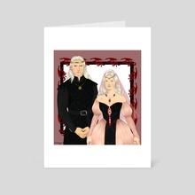 Targaryen Monarchs: King Aegon III and Queen Daenaera Velaryon - Art Card by chillyravenart