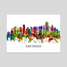 San Diego California Skyline - Canvas by Towseef Dar