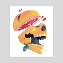 Grapefruit skull - Canvas by Daphnée PIRKER