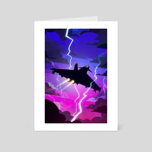 Fighter Jet in a Lightning Storm - Art Card by William J Harris