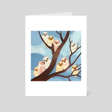 Pastel Owl Tree - Art Card by Nancy Muller