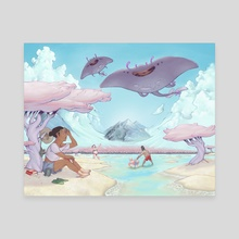 Flying Ray - Canvas by Christopher Castaneda